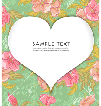 Free heart with floral background vector - Free vector #258595