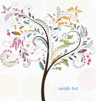 Free doodles background with colorful tree vector - vector gratuit(e) #260135