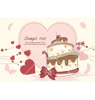 Free cake with hearts vector - Free vector #260585