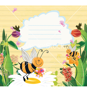 Free bees with floral vector - Free vector #261295