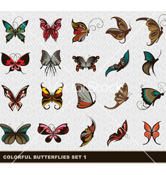 Free colorful butterflies set vector - Kostenloses vector #262545