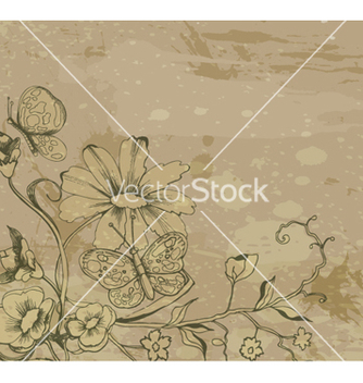 Free retro grunge floral background vector - Free vector #263145