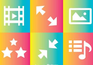 Media Player Rainbow Icons - Free vector #264605