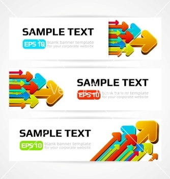 Free set of three banners with 3d arrows vector - Free vector #266665
