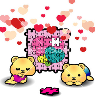 Free two bears piecing heart puzzle vector - vector gratuit #267175