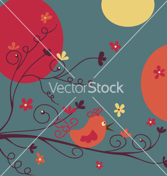 Free bird and flowers vector - Free vector #267825