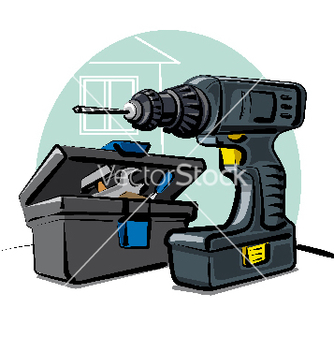 Free battery drill vector - vector gratuit #267875