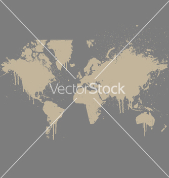 Free world map grunge spray version vector - vector gratuit(e) #270505