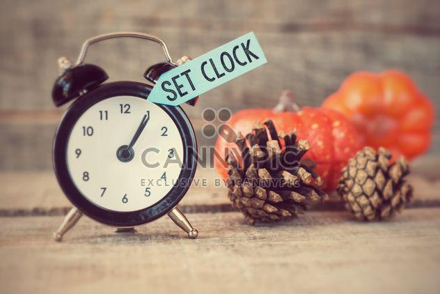 Schwarze Wecker mit Text zurücksetzen, Uhren, Tannenzapfen und Kürbisse auf hölzernen Hintergrund - Kostenloses image #271595