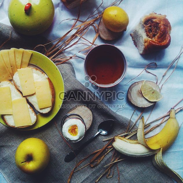 Cheese sandwiches, fruit and cup of tea - Free image #272215