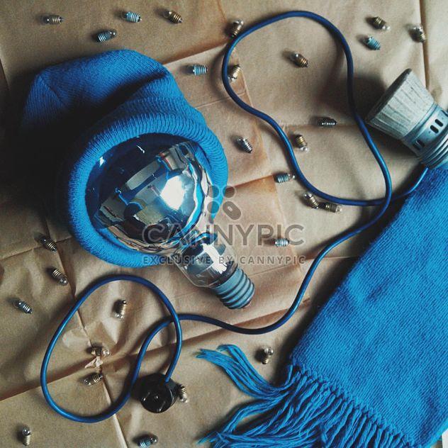 Bombilla en sombrero azul, bufanda y diminutos bulbos - image #272235 gratis