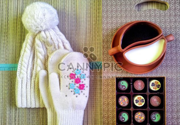 Warm hat, mittens, coffee and candies - Free image #272305