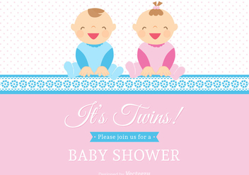 Free Vector Twin Babies Vector Card - Free vector #272365