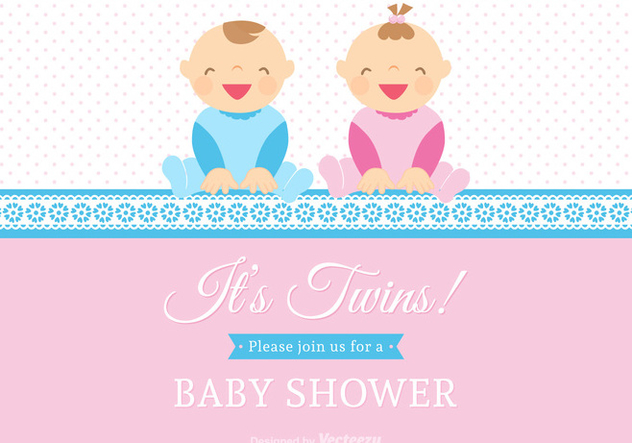 Free Vector Twin Babies Vector Card - бесплатный vector #272365