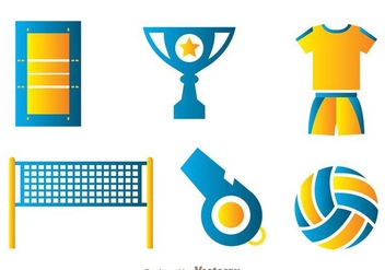 Volleyball Element Icons - Free vector #272455