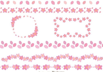Sakura Flowers Border Template - Free vector #272695
