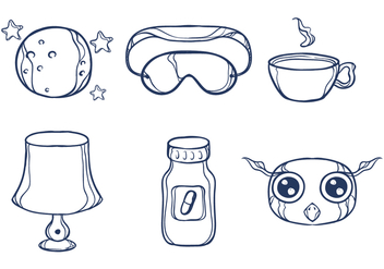 Sketchy Night Time Illustrations - Free vector #272775