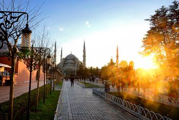 Sultan Ahmet mosque at sunset - Kostenloses image #272995