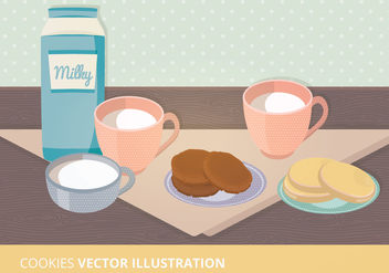 Milk and Cookies Vector Ilustration - Free vector #273235