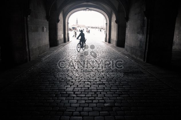 Silhouette of person on bicycle in the arch, Dresden, black and white - Free image #273795
