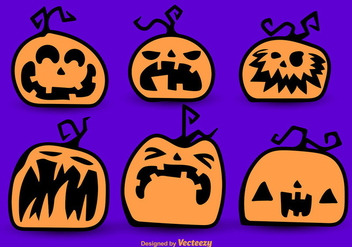 Halloween cartoon pumpkins - Free vector #274115