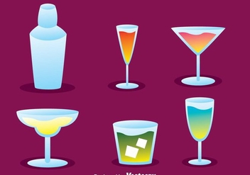 Vector Cocktail Icons - vector gratuit #274325