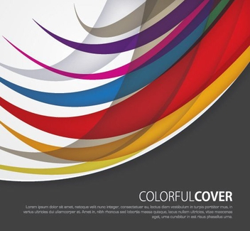 Curved Swirls Colorful Cover - vector #274475 gratis