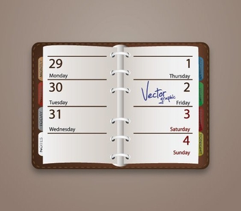 Opened up Weekly Diary - vector gratuit #274515