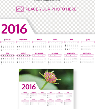 2016 Calendar photo template - vector gratuit #274555