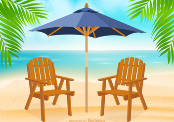 Free Adirondack Chair At Beach Vector - vector gratuit #275275