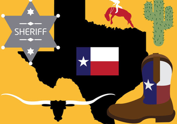 Collection of Texas Symbols in Vector - Free vector #297815