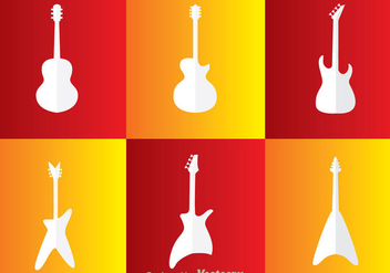 Guitar White Icons - Free vector #298015