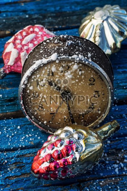 Christmas decorations and old clock - Free image #302045