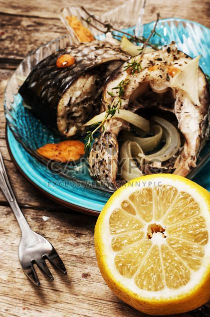 Baked fish and lemon - Free image #302075
