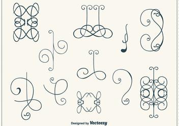Hand Drawn Curly Swirl Vector Set - Kostenloses vector #302185