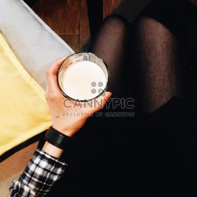 Girl holding glass of Latte - Free image #302335