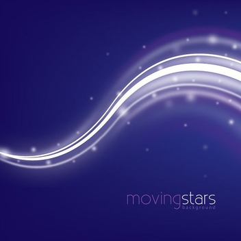 Moving Stars with Waves Background - vector gratuit #303165