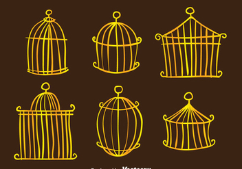 Golden Vintage Bird Cage Vectors - бесплатный vector #303595