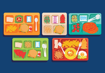 School Lunch Vectors - vector gratuit #303835