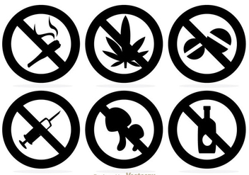 No Drugs Black Icons - vector gratuit(e) #304235