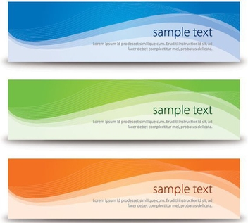 Shiny Waves Colorful Banners - vector gratuit #304305