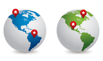 Blue Green Map Globes - vector gratuit #304435