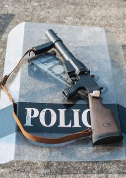 Police shield and rifle - Free image #304605