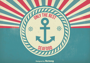 Vintage Style Seafood Poster Illustration - Free vector #304795