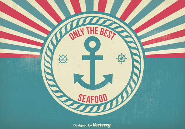 Vintage Style Seafood Poster Illustration - vector gratuit #304795