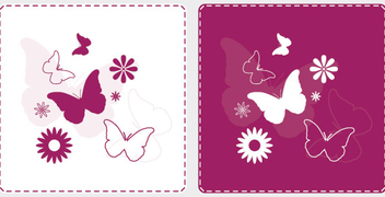 Butterflies Flower Squared Background - vector gratuit #304815