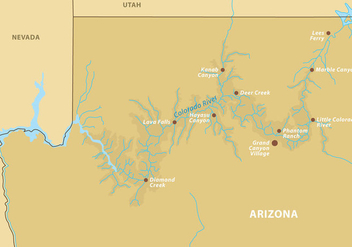 Grand Canyon Map Vector - Free vector #304915