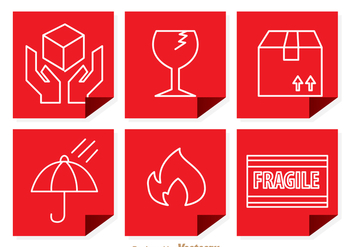 Fragile Red Square Sticker - vector gratuit #305085