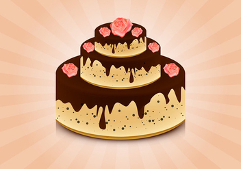 Cake with roses vector background - vector gratuit #305165