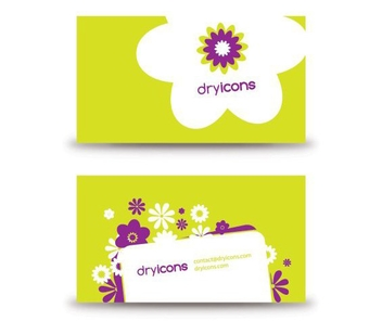 Funky Green Flowery Business Card - vector gratuit #305255